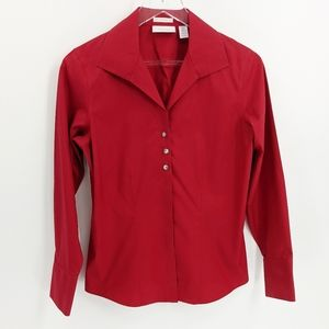 Chico's Red No-Iron Rhinestone Button Up Blouse